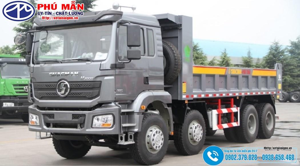 Xe ben Shacman 4 Chân H3000 - Máy 380Hp - Thùng Vuông