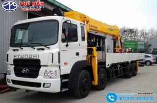 Xe tải Hyundai 4 Chân HD320 - Gắn Cẩu Soosan 12 Tấn  SCS1015LS